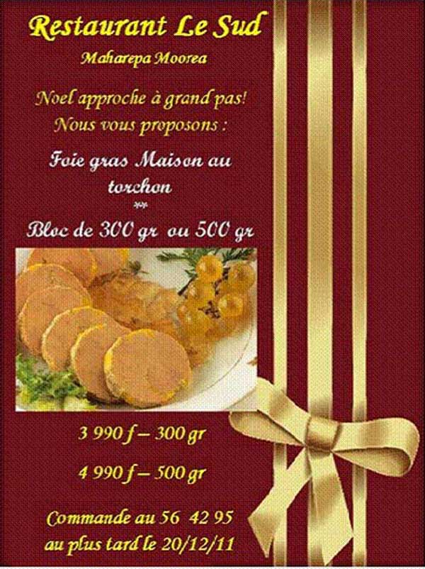 Menu De Noel A Emporter.Menu Special Reveillon A Emporter Au Restaurant Le Sud